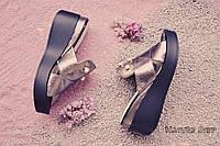 Женские шлепки на черной платформе серебро с жемчугом натуральная кожа 37