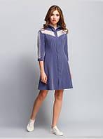 Платье приталенного силуэта выполнено из хлопковой ткани,с отложным воротником и рукавом 3/4, р.48 код 2971М