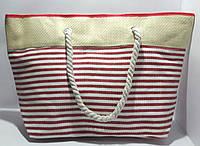 Пляжная летняя сумка красная полоса