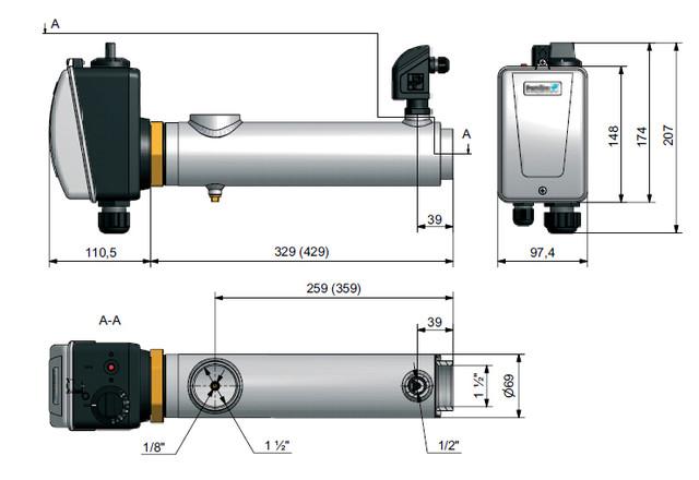 Габаритные размеры электронагревателя Pahlen Compact 9 кВт