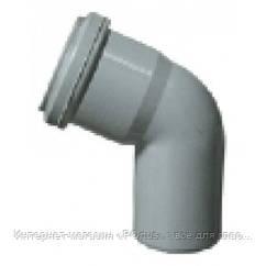 Отвод (колено) 50х67º ПП Европласт с раструбом и уплотнительным кольцом для внутренней канализации серый