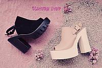 Женские замшевые босоножки (мюли) на высоком каблуке цвет:черный, бледно-розовый 39
