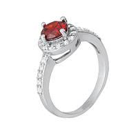 Серебряное кольцо с красным цирконием Магдала 000028312 19 размера