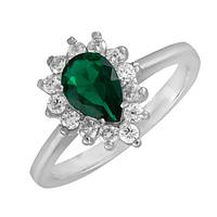 Серебряное кольцо с зеленым фианитом Брюссель 000028317 17.5 размера