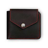 Кожаное портмоне 4.2 (4 кармана, кнопка) Графит-Клубника, фото 1