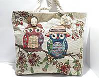 Пляжная текстильная летняя сумка для пляжа и прогулок Совушки