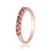 Позолоченное серебряное кольцо с красным цирконием Хельга  000028419 17.5 размера