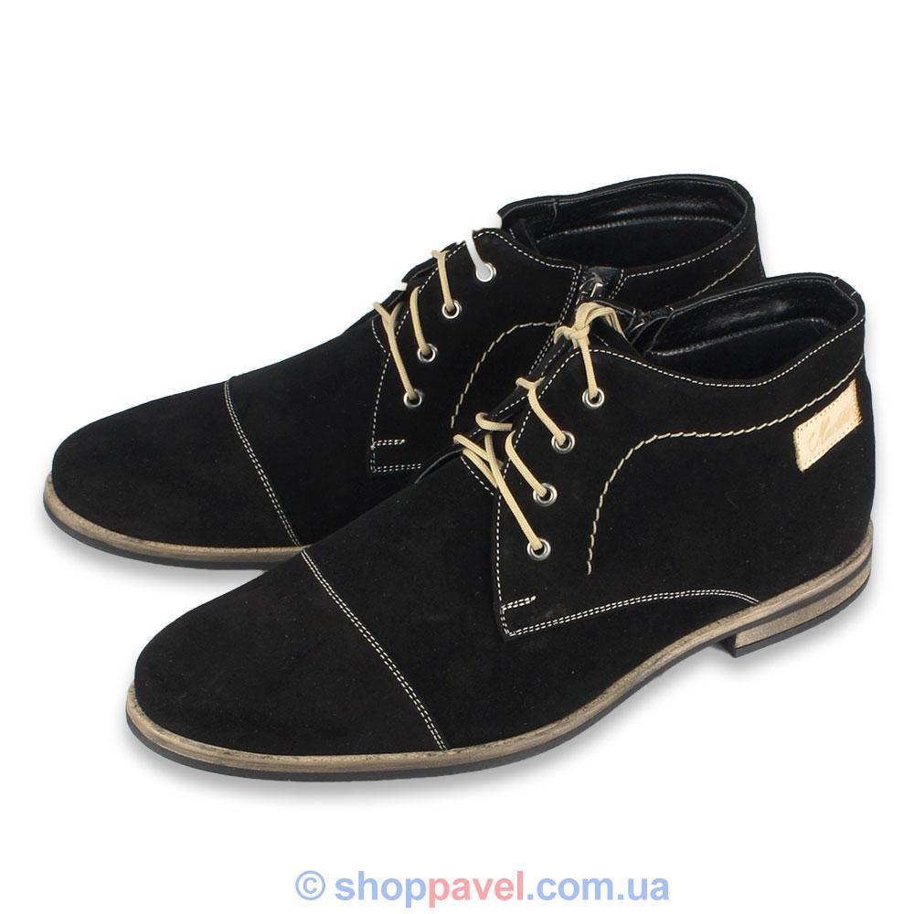Ботинки чоловічі Markko M-133 N замшеві чорного кольору - Магазин великих  розмірів 5XL 499c214d7c26d