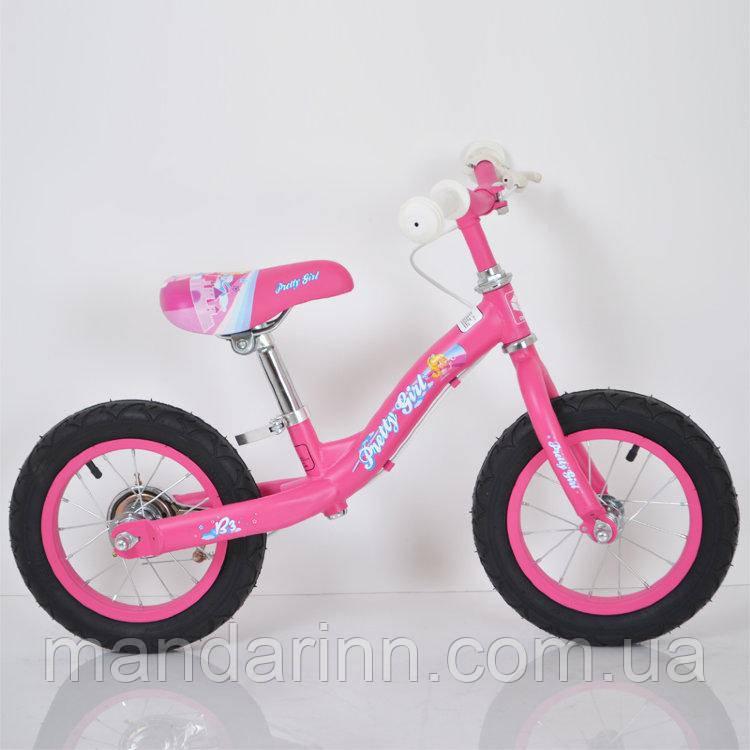 Беговел детский B-3.1 Pink (12дюймов) с тормозом.
