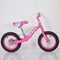 Беговел детский B-3.1 Pink (12дюймов) с тормозом., фото 1