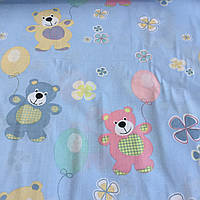 Бязь с разноцветными мишками на голубом фоне, ш. 220 см, фото 1