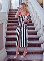 """Приталенное летнее миди-платье в полоску """"Raychel"""" с карманами (3 цвета)"""