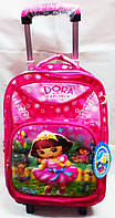 Рюкзак на колесах  Дора  3D галограмма 322 розовый