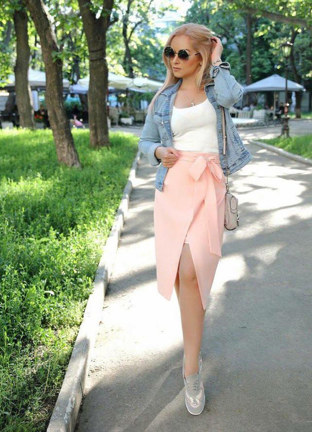 """Летняя юбка-карандаш на запах """"Blanket"""" с карманами (2 цвета)"""
