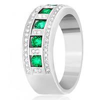 Серебряное кольцо Элата с зеленым цирконием 000030957 17.5 размера