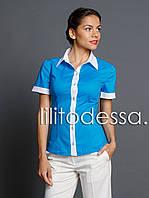 Рубашка комбинированная синий, фото 1