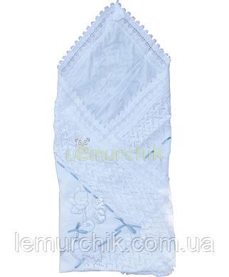 """Конверт-плед для новорожденных легкий на выписку и в коляску """"Аист"""" белый, синяя ленточка"""