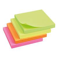 Блок бумаги с липким слоем, неоновые цвета, 80л. Axent 2414, 75х75