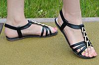 Босоножки, сандали женские на резинке черные искусственная кожа, подошва полиуретан 2017. Со скидкой