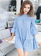"""Расклешенное ярусное мини-платье в клетку """"Аурика"""" с четвертным рукавом (3 цвета)"""
