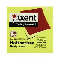 Блок бумаги с липким слоем, неоновые цвета, 80л. Axent 2414, 75х75 желтая
