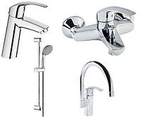 Набор смесителей Grohe Eurosmart для ванны+кухня (23324001+33300002+27926000+33202002)
