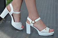 Босоножки женские на широком каблуке, платформа искусственная кожа белые 2017. Со скидкой