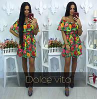 Платье короткое шифоновое в цветочный принт