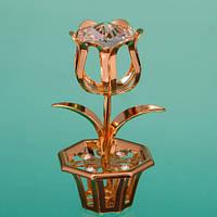 """Фигурка """"Цветок в вазоне""""  (4 вида)с цветными кристаллами красивый подарок"""