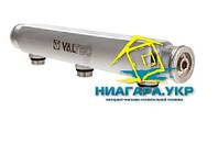 """Коллектор для воды VALTEC из нержавеющей стали 1"""", 4 x 1/2"""" с межосевым расстоянием выходов 100 мм"""