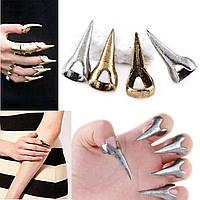 Накладные надевающиеся когти на пальцы золотые
