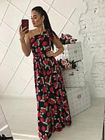 Потрясающее женское летнее платье на одно плечо (костюмка софт цветочный принт, длина в пол, отрезная талия)
