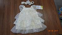 Платье нарядное для девочки Happy Tot, молочный (62,68,74,80)