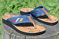Ветнамки, шлепанци, сланцы мужские прочная джинсовая ткань легкие Турция 2017. Со скидкой
