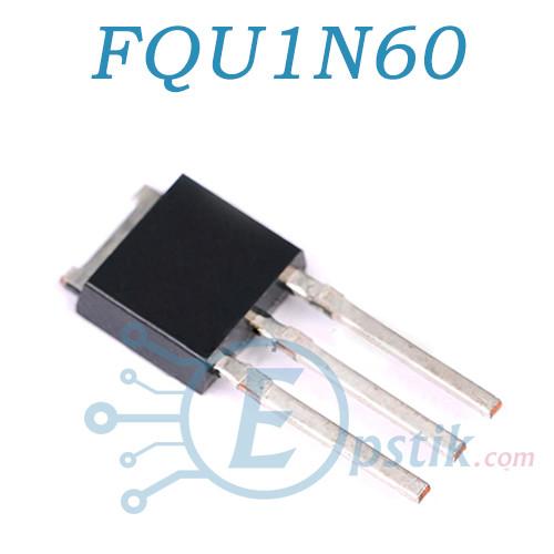 FQU1N60, MOSFET Транзистор, N канал, TO-251