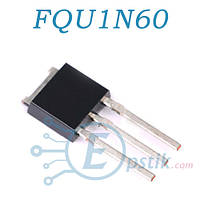 FQU1N60, MOSFET Транзистор, N канал, TO-251