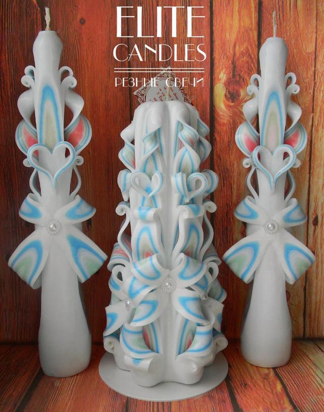 Набор из 3 свадебных резных свечей ручной работы, голубого цвета.