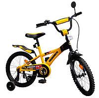 Велосипед детский двухколесный 18 дюймов Хаммер желтый 111809