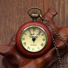 Кварцевые карманные часы деревянные на цепочке