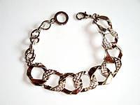Женский браслет из стали, цепь, звенья квадрат, стразы