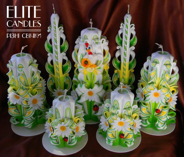 Большой набор свадебных резных свечей ручной работы.