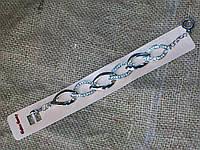 Женский браслет из стали, цепь, звенья овал, стразы