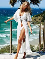 Пляжная накидка туника длинная