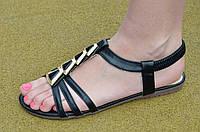 Босоножки, сандали женские на резинке черные искусственная кожа, подошва полиуретан. Со скидкой