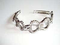 Женский браслет из стали, цепь, бантики, стразы