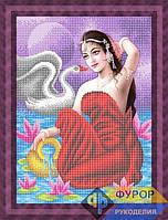 Схема для вышивки бисером - Девушка и лебедь, Арт. ЛБч3-067