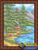 Схема для вышивки бисером - Домик в горах у озера, Арт. ПБп3-064