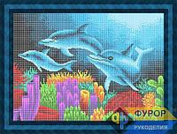 Схема для вышивки бисером - Дельфины под водой, Арт. ЖБп3-88