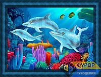 Схема для вышивки бисером - Дельфины под водой, Арт. ЖБч3-89