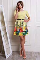 Молодежное яркое летнее платье с модным принтом р-ры 44,46,48